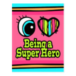 Superhéroe brillante del amor del corazón I del oj Tarjeta Postal