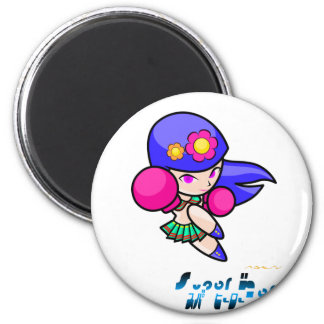 Superhéroe - chica del sacador imán redondo 5 cm