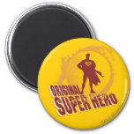 Superhéroe de la original del superhombre imán redondo 5 cm