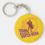 Superhéroe de la original del superhombre llavero redondo tipo pin