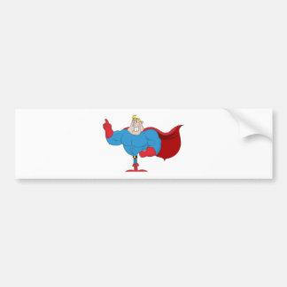 Superhéroe del dibujo animado etiqueta de parachoque