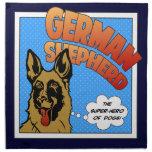Superhéroe del pastor alemán servilletas de papel