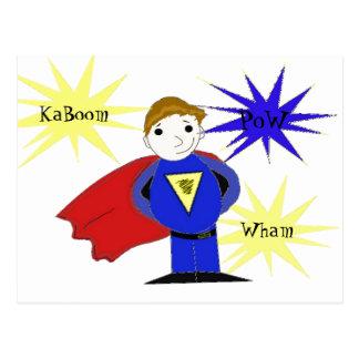 Superhéroe fresco del dibujo animado tarjetas postales