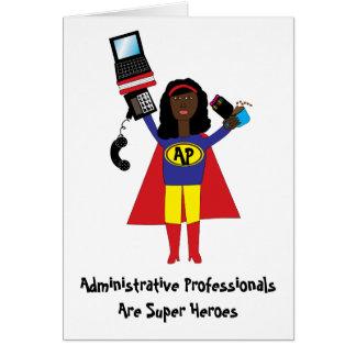 Superhéroe profesional administrativo AfricanAmer Tarjeta De Felicitación