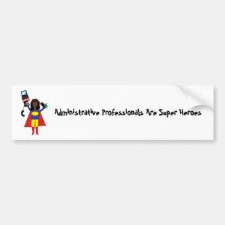 Superhéroe profesional administrativo (africano etiqueta de parachoque