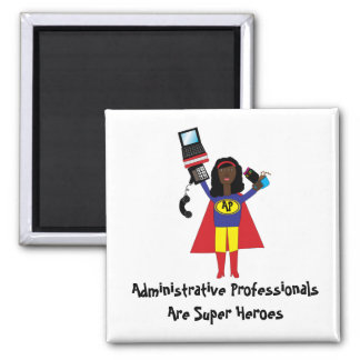 Superhéroe profesional administrativo (africano imán cuadrado