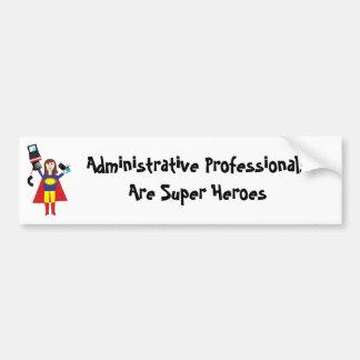 Superhéroe profesional administrativo (Brunette) Etiqueta De Parachoque