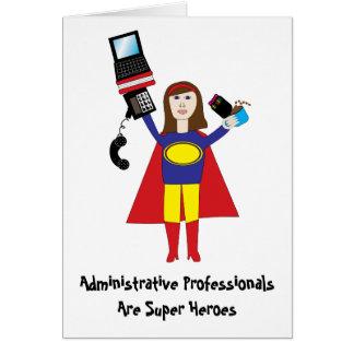 Superhéroe profesional administrativo (Brunette) Tarjeta De Felicitación