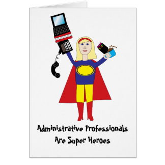 Superhéroe profesional administrativo Ca (rubio) Tarjeta De Felicitación