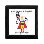 Superhéroe profesional administrativo (rubio) cajas de recuerdo