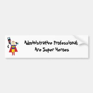 Superhéroe profesional administrativo (rubio) etiqueta de parachoque