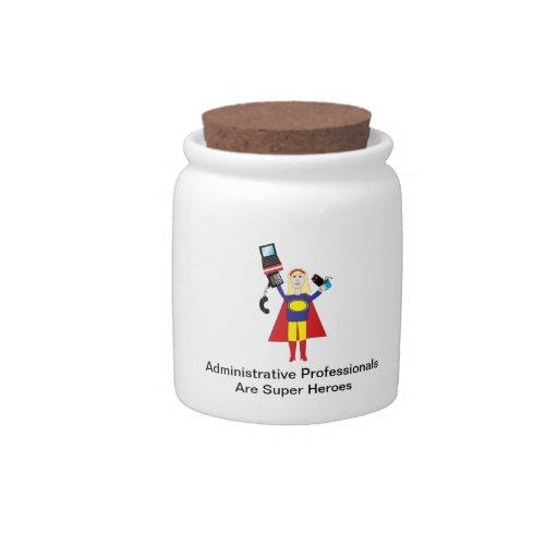 Superhéroe profesional administrativo (rubio) jarras para caramelos