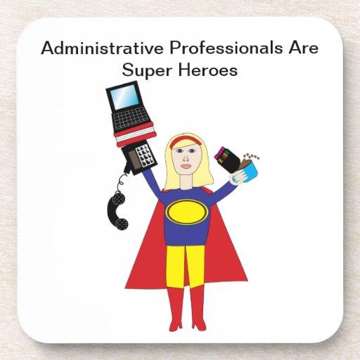 Superhéroe profesional administrativo (rubio) posavasos de bebida