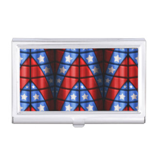 Superheroes - Blue, Red, White Stars Case For Business Cards