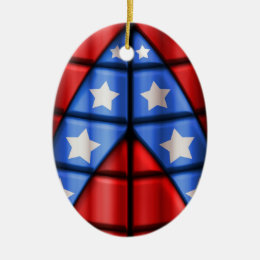 Superheroes - Blue, Red, White Stars Ceramic Ornament
