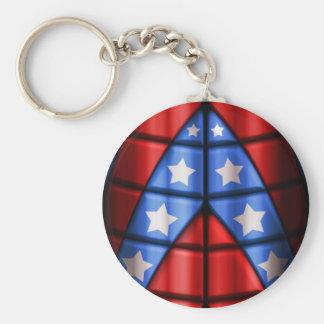 Superheroes - Blue, Red, White Stars Keychain