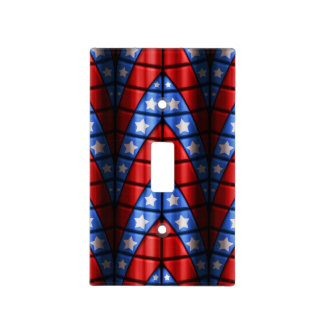 Superheroes - Blue, Red, White Stars Light Switch Cover