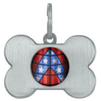 Superheroes - Blue, Red, White Stars Pet Name Tag