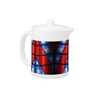Superheroes - Blue, Red, White Stars Teapot
