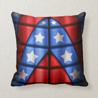 Superheroes - Blue, Red, White Stars Throw Pillow