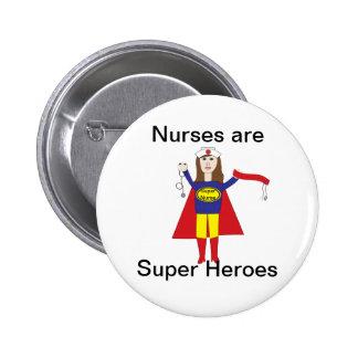 Superhéroes de las enfermeras (Brunette) Pin Redondo De 2 Pulgadas