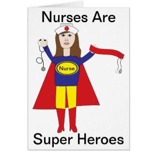 Superhéroes de las enfermeras (Brunette) Tarjeta De Felicitación