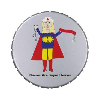 Superhéroes de las enfermeras (rubios) frascos de dulces