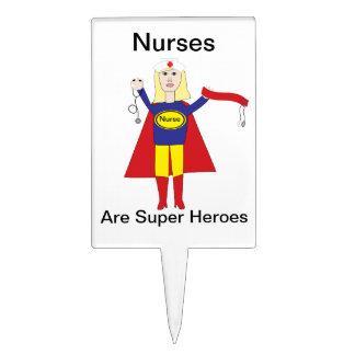 Superhéroes de las enfermeras (rubios) palillos de tarta