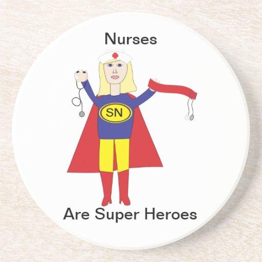 Superhéroes de las enfermeras (rubios) posavasos manualidades