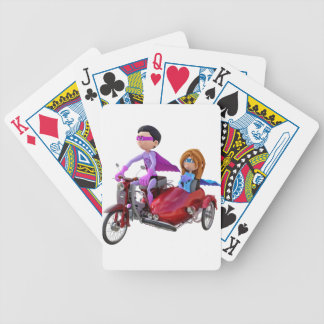 Superheroes in a Moped with a Sidecar Bicycle Playing Cards