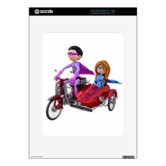Superheroes in a Moped with a Sidecar Decal For iPad
