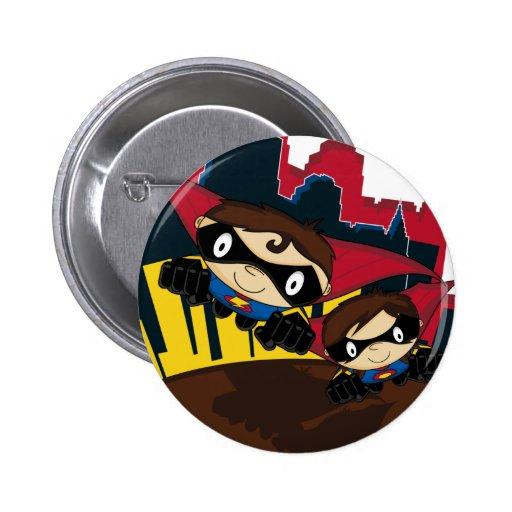 Superheroes in City Scene Button Badge