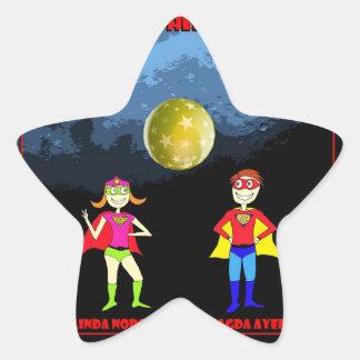 Superheroes moon star sticker