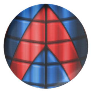 Superheroes - Red and Blue Dinner Plate