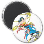 Superheroines Leap 2 Inch Round Magnet