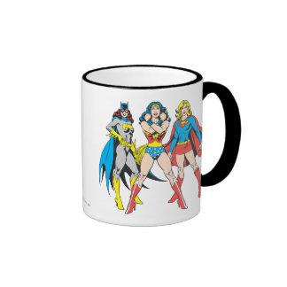 Superheroines Pose Ringer Coffee Mug