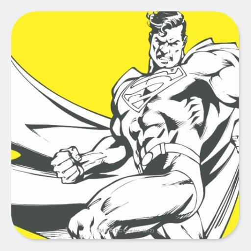 Superhombre 2 blancos y negros calcomanía cuadradas
