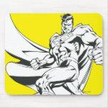 Superhombre 2 blancos y negros alfombrilla de ratón