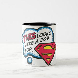 Superhombre 74 taza de café de dos colores