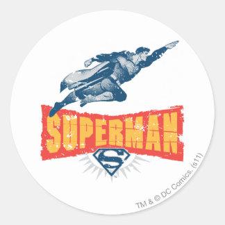 Superhombre apenado pegatina redonda