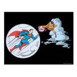 Superhombre atrapado en burbuja postales