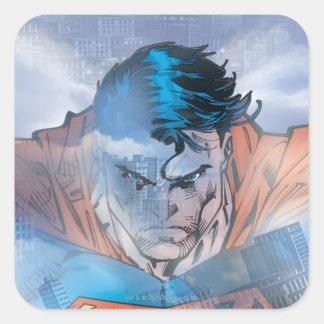 Superhombre - azul pegatina cuadrada