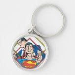 Superhombre/Clark Kent Llavero Redondo Plateado
