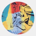 Superhombre colorido pegatinas redondas