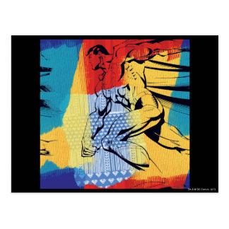 Superhombre colorido postal