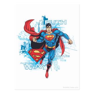 Superhombre con el logotipo tarjetas postales