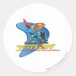 Superhombre con el tren - color pegatina redonda