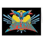 Superhombre con las letras tarjeta de felicitación