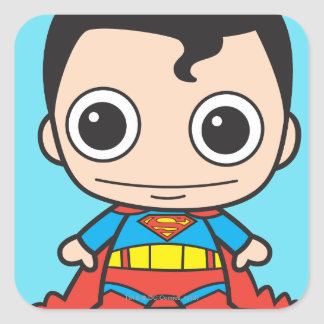 Superhombre de Chibi Pegatina Cuadrada