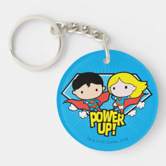 ¡Superhombre de Chibi y poder de Chibi Supergirl Llavero Redondo Acrílico A Doble Cara